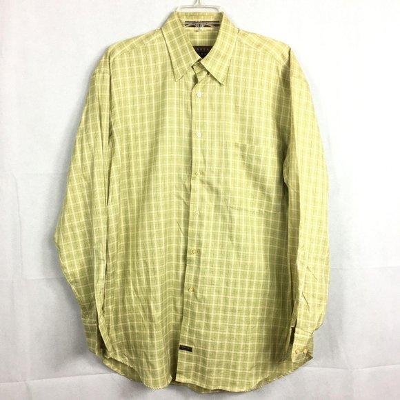Robert Talbott Yellow Plaid Dress Shirt Sz M